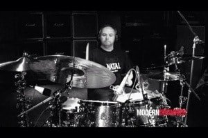 Paul Hose filming for Modern Drummer