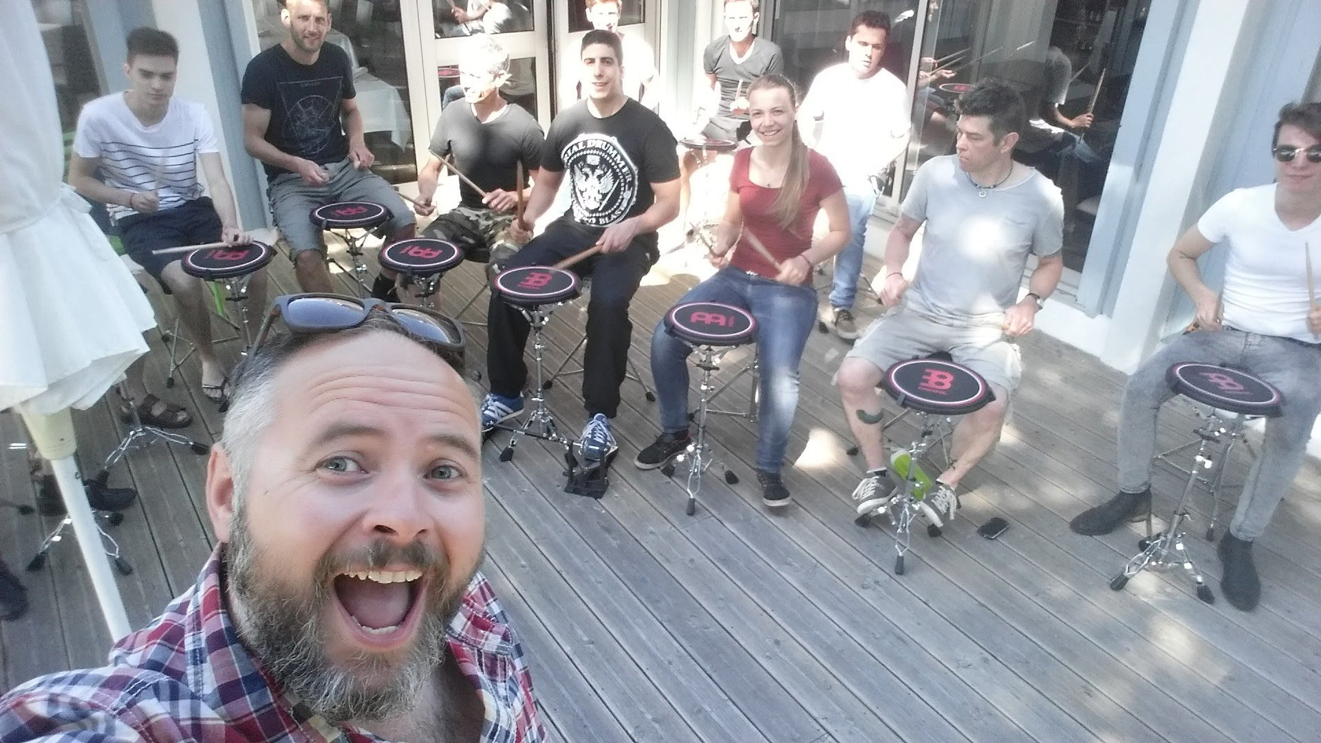 Paul Hose Teaching a group of young drummers in France, 2016